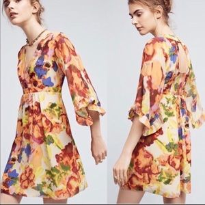 Anthro Deloria Printed Floral Silk Dress by Maeve